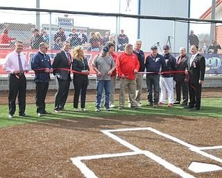 Austintown School and township officials were on hand for ribbon cutting ceremony for new Fitch baseball facility 4-12-18.