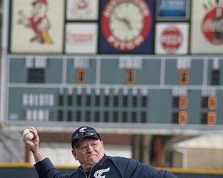 Wally Ford throws out first ball at new Fitch baseball facility 4-12-18.