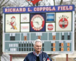 Rich Coppola, former Fitch coach, throws out first ball at new Fitch baseball facility 4-12-18.