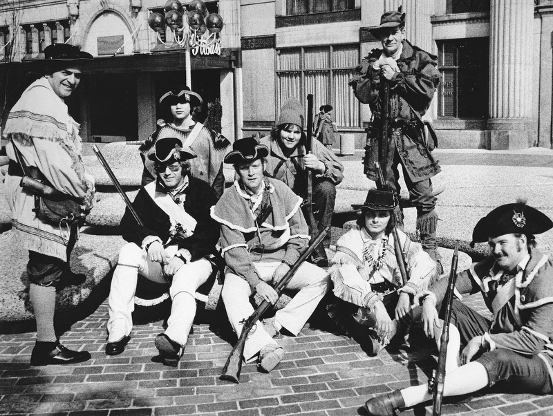 RECRUITS NEEDED - Joseph Alessi (standing left), commander of the Mahoning Valley Colonial Brigade, is seeking recruits for the group and asks interested persons to attend a meeting at 2:30 p.m. Today in the Bicentennial offices, 7 Federal Plaza West.  Parading Saturday in the plaza in observance of Washington's Birthday were (seated, from left) Terry Noble, Bill Jones, Roy Moore, and Arnold Ylonen and (standing from left) Alessi, Harry Noble, Jim Mann, and George Wedlin.