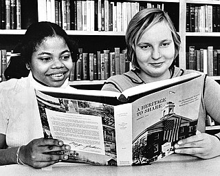 Daphne Bowman, left, and Cecelia Karcher, two 9th grade students.  ..Photo by Paul R. Schell.