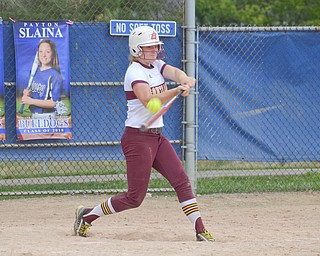 South Range's #8, Madison Weaver, makes contact to earn herself a base hit during their game against Poland in Poland on Saturday, April 14, 2018.