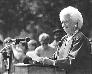 Barbara Bush speaks to students and the crowd at St. Luke School.