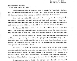 Official press release regarding First Lady Barbara Bush's visit to the Youngstown Air Reserve Station. This document is apart of the Vindicator's collection.