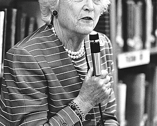 Second Lady of the United States, Barbara Bush, breezed through Youngstown on Thursday, April 21, 1988, stopping briefly to visit a sixth-grade class at West Elementary and officials of the Mahoning Valley Literacy Commission.  