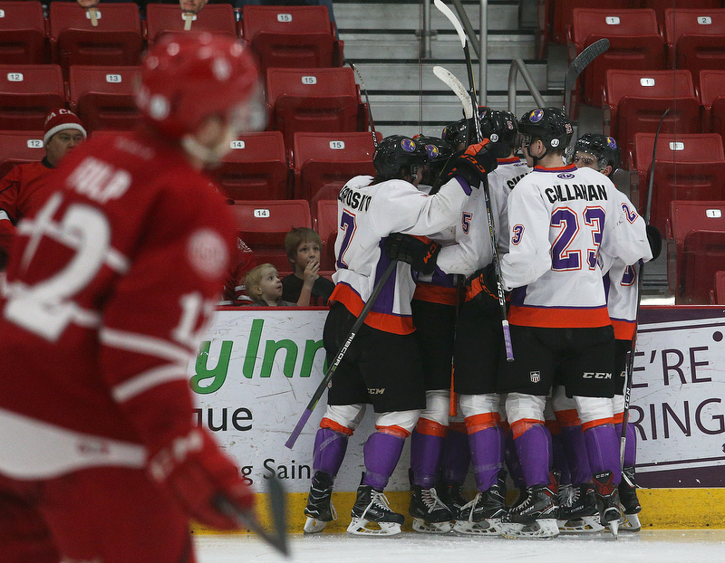 Youngstown Phantoms' players celebrate a goal during their hockey game against the Dubuque Fighting Saints at Mystique Community Ice Center in Dubuque on Tuesday, April 24, 2018.