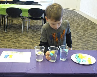 Neighbors   Zack Shively.The children guessed whether or not Peeps would float at a certain station. Another station included a cup of water with blue and yellow Peeps inside that turned the water green.