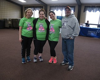 Neighbors   Zack Shively.Jessica Giancola created a 5k and mile run/walk event at Austintown Township Park on April 14 to benefit the Crohn's and Colitis Foundation. Pictured, from left, are those who helped create the event, Cathy Angela, Jessica and Michael Giancola.