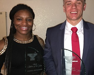 Basketball player Indiya Benjamin, left, and track hurdler/sprinter Chad Zallow are Youngstown State's Athletes of the Year for 2017-18. They were honored at a YSU banquet on Wednesday.