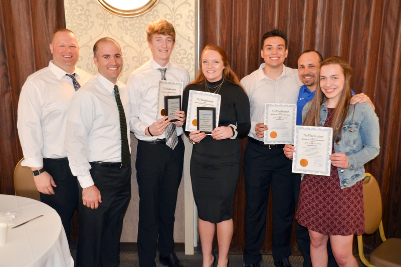 A group of students and coaches from Western Reserve display their certificates at the Curbstone Coaches Basketball Recognition Banquet at the Our Lady of Mount Carmel Social Hall in Youngstown on Sunday, April 29, 2018.  From left to right, they are: Jeff Martig, Patsy Daltorio, Kade Hilles, Alexis Hughes, Jack Cappabianca, Steve Miller, and Laura Sigworth.    Photo by Scott R. Williams - The Vindicator