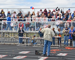 Lordstown Mayor Arno Hill addresses a packed set of bleachers at a rally to keep TJX in the Mahoning Valley on Sunday, April 29, 2018 at the Lordstown High School track.  