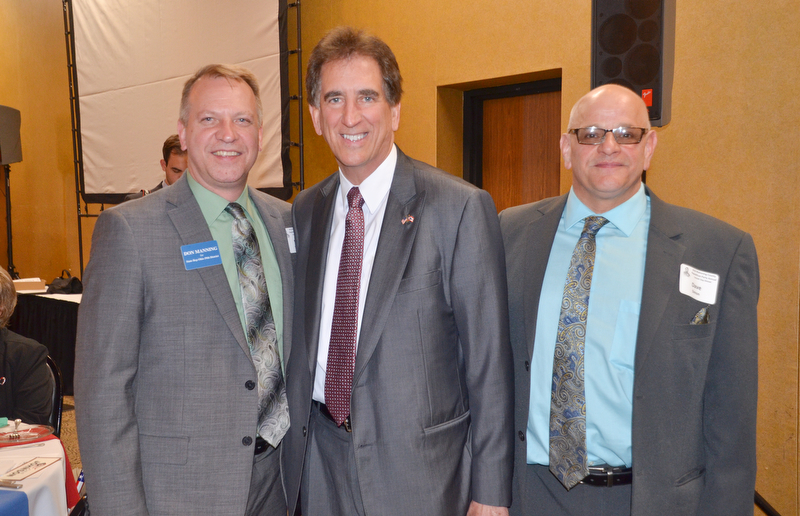 From left to right, Don Manning, State Rep. Ohio 59th District; Jim Renacci, US Rep. Ohio 16th district; and Dave Simon, State Rep. Ohio 58th District candidate; share a moment together at the Mahoning County Republican Party's Annual Abraham Lincoln Day Dinner held at The Maronite Center on Tuesday, May 1, 2018.  