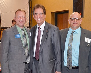 From left to right, Don Manning, State Rep. Ohio 59th District; Jim Renacci, US Rep. Ohio 16th district; and Dave Simon, State Rep. Ohio 58th District candidate; share a moment together at the Mahoning County Republican Party's Annual Abraham Lincoln Day Dinner held at The Maronite Center on Tuesday, May 1, 2018.    Photo by Scott Williams - The Vindicator