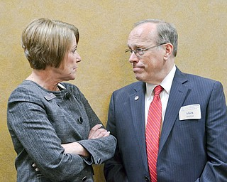 Mark Munroe, Mahoning County Republican Party chairman, (right) chats with Judge Carol Ann Robb, 7th District Court of Appeals, prior to the start of the Mahoning County Republican Party's Annual Abraham Lincoln Day Dinner held at The Maronite Center on Tuesday, May 1, 2018.    Photo by Scott Williams - The Vindicator