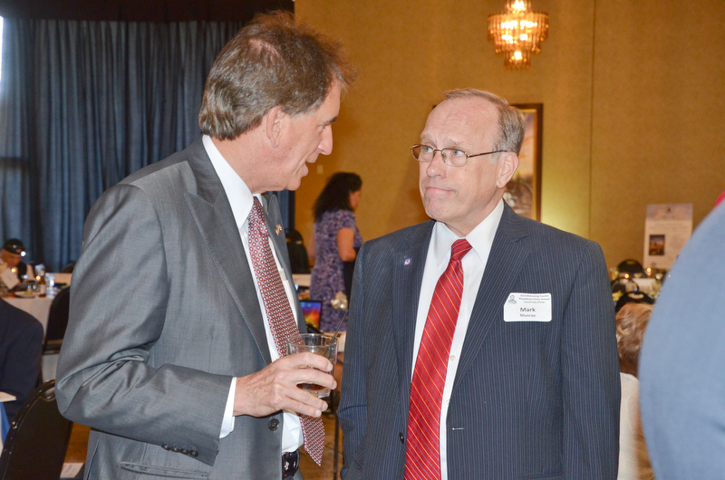 Mark Munroe, Mahoning County Republican Party chairman, (right) chats with Jim Renacci, U.S. Rep. Ohio 16th district, prior to the start of the Mahoning County Republican Party's Annual Abraham Lincoln Day Dinner held at The Maronite Center on Tuesday, May 1, 2018.  