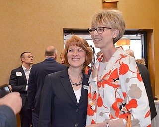 Ohio Supreme Court Justice Mary DeGenaro (right) and Kathleen Bartlett, 7th District Court of Appeals, share a moment prior to the start of the Mahoning County Republican Party's Annual Abraham Lincoln Day Dinner held at The Maronite Center on Tuesday, May 1, 2018.  