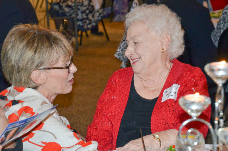 Ohio Supreme Court Justice Mary DeGenaro (left) shares a moment with her friend Josephine Houser, from North Lima,, prior to the start of the Mahoning County Republican Party's Annual Abraham Lincoln Day Dinner held at The Maronite Center on Tuesday, May 1, 2018.  