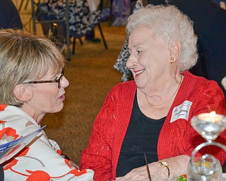 Ohio Supreme Court Justice Mary DeGenaro (left) shares a moment with her friend Josephine Houser, from North Lima,, prior to the start of the Mahoning County Republican Party's Annual Abraham Lincoln Day Dinner held at The Maronite Center on Tuesday, May 1, 2018.    Photo by Scott Williams - The Vindicator.