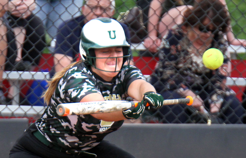 William D. Lewis The Vindicator  Ursuline's Jenna O'Hara lays down a bunt (19) during 5-2-18 win over Lakeview at YSU.