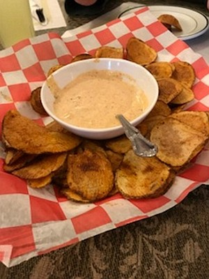 Homemade Chips with Cajun Ranch.