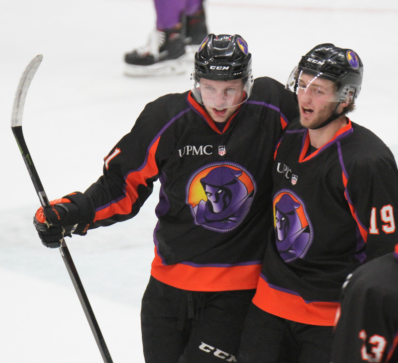 William D. Lewis The Vindicator  Phantoms Michael Regush(21), left, and Chase Grescock(19) celebrate after Regush scored during 1rst period 5-5-18.