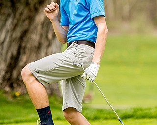THE VINDICATOR | DIANNA OATRIDGEÊ Zavier Bokan, 17, of McDonald, reacts after narrowly missing a putt on the No. 7 green at Pine Lakes Golf Club during the Greatest Golfer of the Valley qualifier on Sunday..