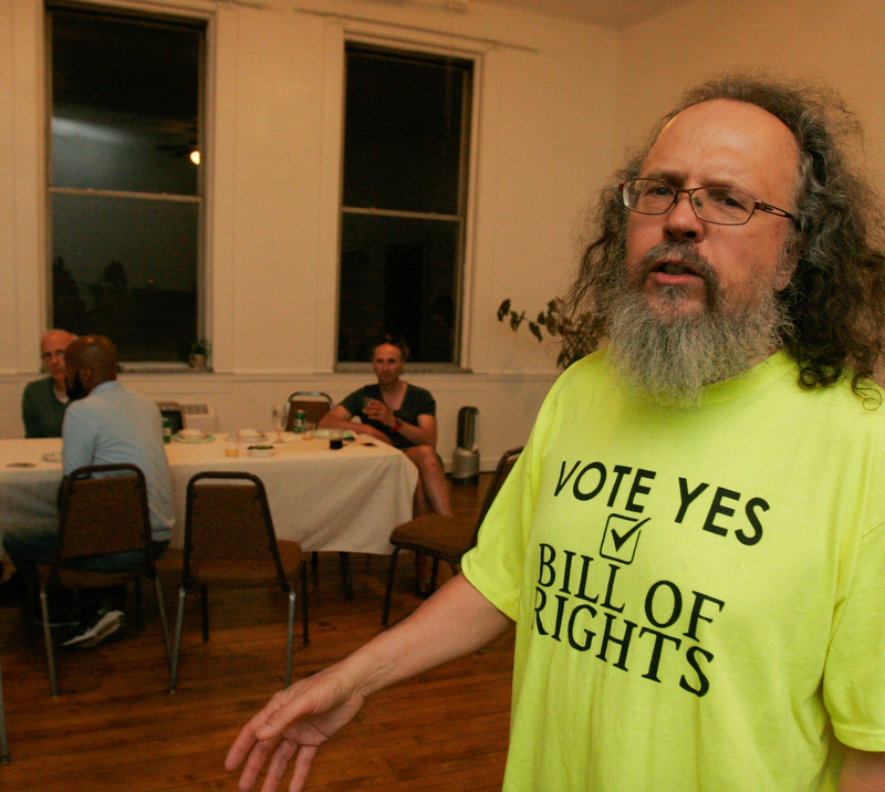 William D. Lewis The Vindicator Ray Beiersdorfer speaks during an election night event at The Calvin Center for those backing the anti fracking charter ammendemnt. Tuesday.