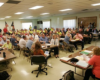 William D. Lewis The Vindicator Large crowd on hand during a zoning meeting at the Lordstown Administration building Tuesday.