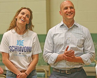 ROBERT K.YOSAY  | THE VINDICATOR..Margaret Schiavoni (wife) and Joe chuckle at a comment by  Ken Carano before getting on stage to thanks his supporters for his run for the govenor..-30-