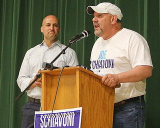 ROBERT K.YOSAY  | THE VINDICATOR..Joe Schiavoni - listens as his dad Lou... talks about the campaign and the work as they thanked supporters ..-30-