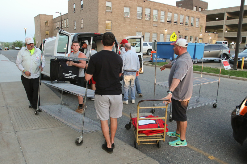 ROBERT K.YOSAY  | THE VINDICATOR..Election workers at the Board of Elections load machines off of trucks as the last part of the election process for tuesday night is wrapped up ..-30-