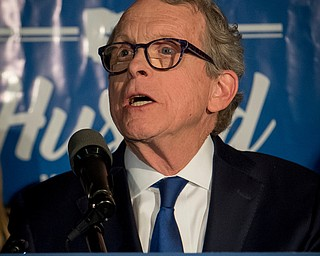 Ohio Attorney General and Republican gubernatorial candidate Mike DeWine addresses supporters after winning the primary election, Tuesday, May 8, 2018, in Columbus, Ohio. (AP Photo/Bryan Woolston)