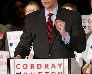 Democratic gubernatorial candidate Richard Cordray speaks to a crowd of supporters during an election night event, Tuesday, May 8, 2018, in Columbus, Ohio. Ohio's roller-coaster gubernatorial primary season was decided Tuesday as Republicans and Democrats voted for their nominees to replace term-limited Republican Gov. John Kasich. (AP Photo/Jay LaPrete)