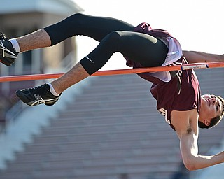 BOARDMAN, OHIO - MAY 8, 2018: Boardman's Ted Anzevino competes during the boys pole vault during the AAC Red Tier Track Championship at Boardman High School, Tuesday night. DAVID DERMER | THE VINDICATOR