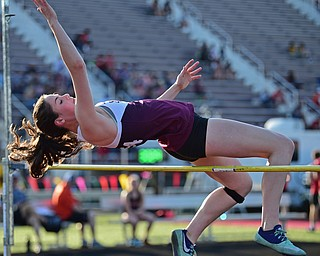 BOARDMAN, OHIO - MAY 8, 2018: Boardman's Kaylin Burkey clears the bar during the girls high jump during the AAC Red Tier Track Championship at Boardman High School, Tuesday night. DAVID DERMER | THE VINDICATOR