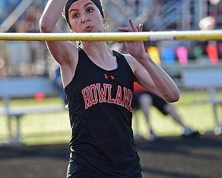 BOARDMAN, OHIO - MAY 8, 2018: Howland's Madison Sisler competes during the girls high jump during the AAC Red Tier Track Championship at Boardman High School, Tuesday night. DAVID DERMER | THE VINDICATOR