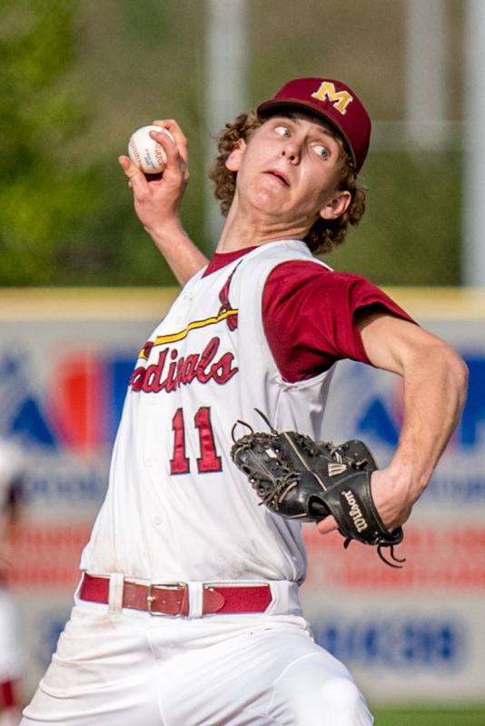 THE VINDICATOR | DIANNA OATRIDGEÊ Cardinal Mooney's Brandon Mikos fires a pitch during their 11-2 victory over Howland in Division II Sectional Final action at Cene Park on Wednesday.