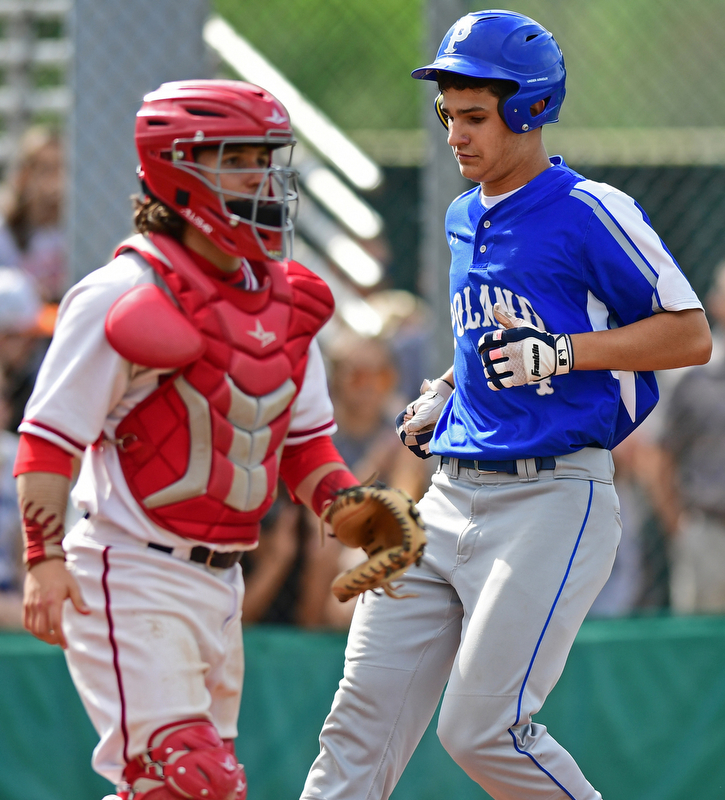 STRUTHERS, OHIO - MAY 15, 2018: Poland's Braeden O'Shaughnessy scores a run in the third inning of their OHSAA tournament game on Tuesday afternoon at Cene Park. Niles won 4-3. DAVID DERMER | THE VINDICATOR..Niles catcher Nick Guarnieri pictured.