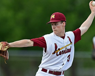STRUTHERS, OHIO - MAY 15, 2018: Mooney's JT Ogden delivers in the fifth inning of their OHSAA tournament game on Tuesday afternoon at Cene Park. Canfield won 4-3. DAVID DERMER   THE VINDICATOR