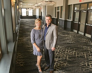 ROBERT K YOSAY  | THE VINDICATOR..dominic and jackie marchionda.. on the 12th floor ballroom...Double Tree in Youngstown opened its restaurant and Hotel today Wed. in the former Stambaugh Building.  The building  has been restored to its original marble and granite and then some....-30-