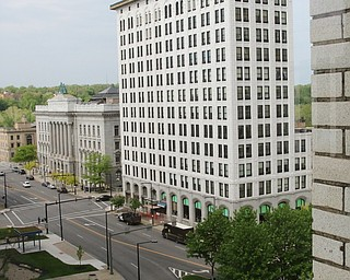 ROBERT K YOSAY  | THE VINDICATOR..looking south from the hotel..Double Tree in Youngstown opened its restaurant and Hotel today Wed. in the former Stambaugh Building.  The building  has been restored to its original marble and granite and then some....-30-
