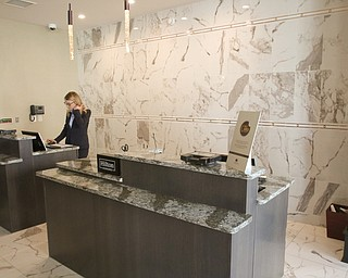 ROBERT K YOSAY  | THE VINDICATOR..Lobby - area for Double Tree.Double Tree in Youngstown opened its restaurant and Hotel today Wed. in the former Stambaugh Building.  The building  has been restored to its original marble and granite and then some....-30-