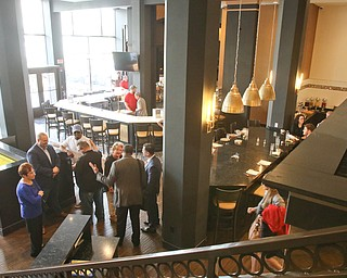 ROBERT K YOSAY  | THE VINDICATOR..The Bistro 1907 restaurant and bar on the ground floor...Double Tree in Youngstown opened its restaurant and Hotel today Wed. in the former Stambaugh Building.  The building  has been restored to its original marble and granite and then some....-30-