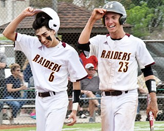 WilliamD. Lewis The Vindicator South Range's Kris Scandy(6) and Jaxon Anderson(23) react after scoring during 5-16 win over Crewstview.