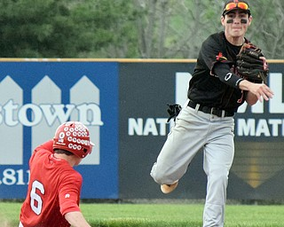 William D. Lewis The Vindincator Canfield's Spencer Wooley(7) throws to first for a double play during 4th inning in a win over Niles 5-17-18. Out at 2nd is Niles'Marco Defalco(6)