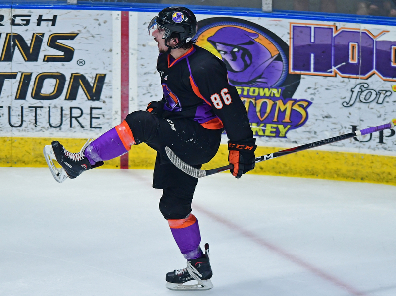 YOUNGSTOWN, OHIO - MAY18, 2018: Phantoms' Nicholas Cardelli celebrates after scoring a goal during Friday nights Clark Club Final game at the Covelli Centre. DAVID DERMER | THE VINDICATOR