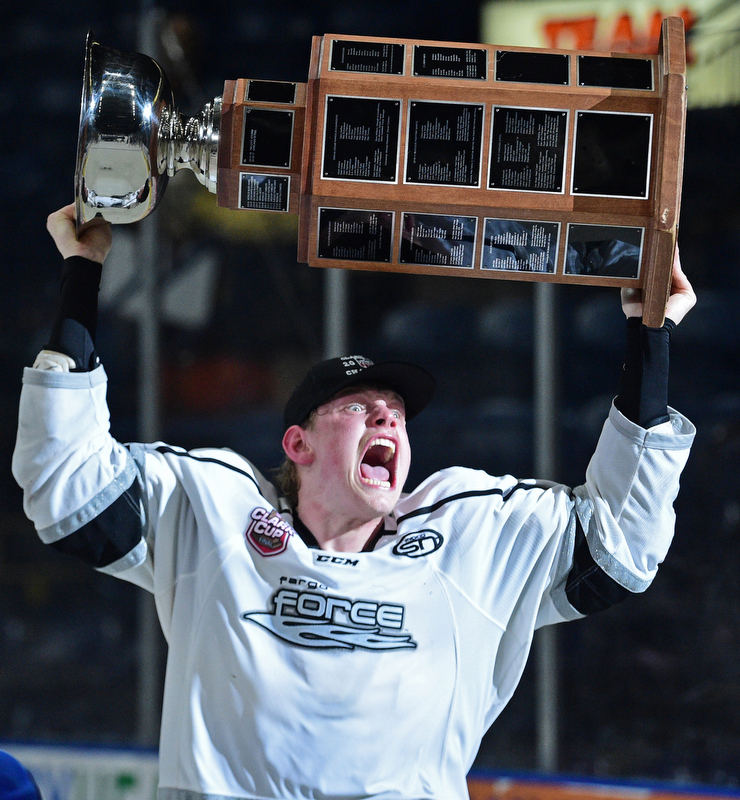 YOUNGSTOWN, OHIO - MAY 19, 2018: Fargo's Jacob Schmidt-Svejstrup celebrates with the Clark Cup after Fargo defeated Youngstown 4-2 to fin the USHL championship, Saturday night in Youngstown. DAVID DERMER | THE VINDICATOR