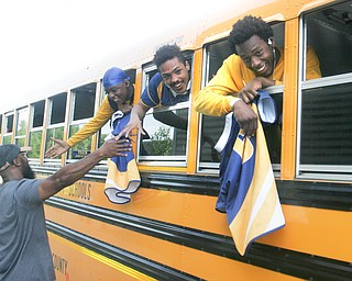 William D. Lewis the Vindicator  East HS rugby players are greeted as they return to East HS Sunday 5-20-18 after defeating Shaker Hgts to win state championship.