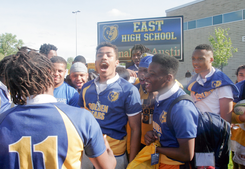 William D. Lewis the Vindicator  East HS rugby team celebrates after winning State Championship 5-20-18.