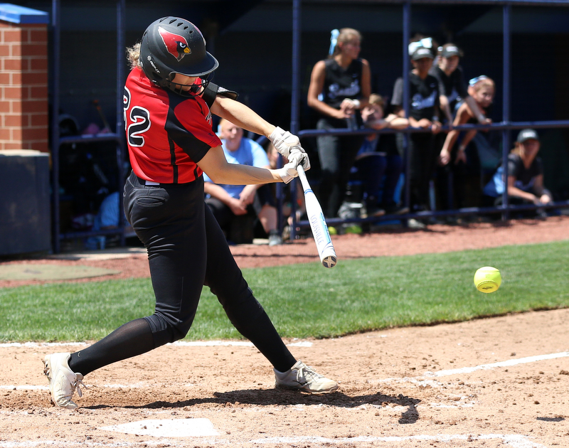 AKRON, OHIO- 05-23-18 SOFTBALL D1 Regional Semi- Canfield Cardinals vs Willoughby South Rebels: Canfield's Chloe Cruz (32) doubles during the 6th inning at University of Akron, Lee Jackson Softball Field.  MICHAEL G. TAYLOR | THE VINDICATOR